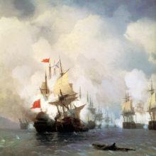 Бой в Хиосском проливе 24 июня 1770 года. 1848 год.