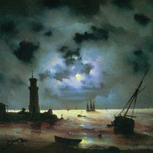 Берег моря ночью. У маяка. 1837 год.
