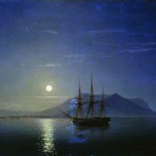 Парусник у берегов Крыма в лунную ночь. 1858 год