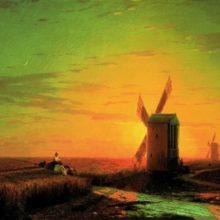 Ветряные мельницы в украинской степи при закате солнца. 1862 год.