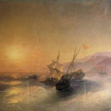Взятие русскими матросами турецкой лодки и освобождение пленных кавказских женщин. 1880 год.