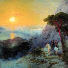 А. С. Пушкин на вершине Ай-Петри при восходе солнца. 1899 год.