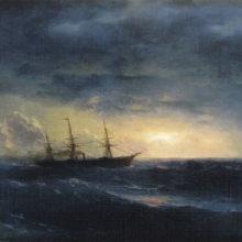 Крейсер в море ночью.