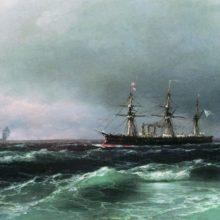 Корабль в море. 1870-е год.