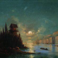 Вид приморского города вечером с зажженным маяком. 1870-е год.
