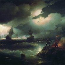 Петр I при Красной горке, зажигающий костер для сигнала гибнущим судам своим. 1846 год.