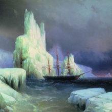 Ледяные горы в Антарктиде. 1870 год.