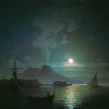 Неаполь в лунную ночь. Везувий. 1870-е год.