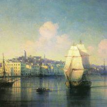 Вид приморского города. 1877 год.