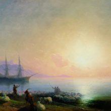 Купание овец. 1877 год.