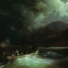 Героиня Боболина с охотниками прорывается под градом выстрелов на катере сквозь турецкий флот, блокировавший Навина в 1827 году. 1880 год.