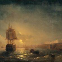 Вид Одессы в лунную ночь. 1855 год.
