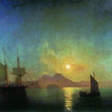 Вид на Везувий в лунную ночь. 1858 год.