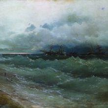 Корабли в бурном море. Восход солнца. 1871 год.
