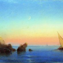 Тихое море. Скалистый берег. 1860-е год.