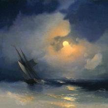 Буря на море лунной ночью. 1849 год.