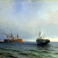 Захват пароходом «Россия» турецкого военного транспорта «Мессина» на Чёрном море 13 декабря 1877 года. 1877 год.