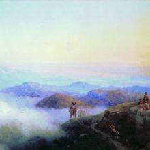 Цепи Кавказских гор. Вид с Каранайских гор на Темир-Хан-Шуру, на Каспийском море. 1869 год.