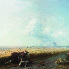 Во время жатвы на Украине. 1883 год.