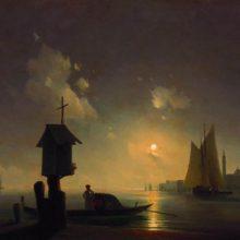 Морской вид с часовней на берегу. 1845 год.