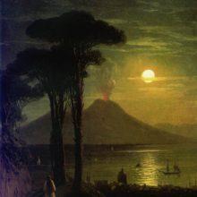 Неаполитанский залив в лунную ночь. Везувий. 1840-е год.
