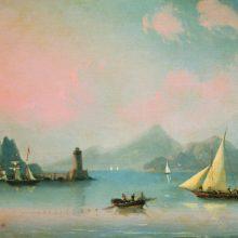 Морской пролив с маяком. 1841 год.