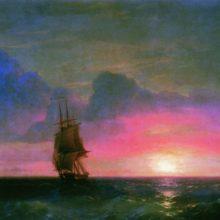 Закат солнца. Одинокий парусник. 1853 год.