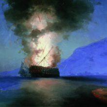 Взрыв корабля. (Это картина последняя картина художника)1900 год.