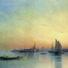 Вид Венеции с лагуны при закате. 1873 год.