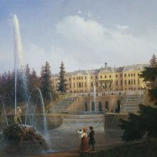 Вид на Большой Каскад и Большой Петергофский дворец. 1846 год.