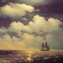 Бриг Меркурий после победы над двумя турецкими судами встречается с русской эскадрой. 1848 год.