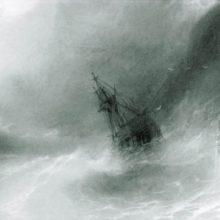 Выброшенный на скалы корабль. 1874 год.