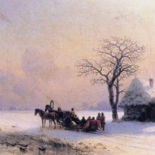 Зимняя сцена в Малороссии 1868 год.