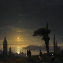Галатская башня в лунную ночь. 1845 год.